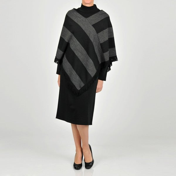 Lennie for Nina Leonard Women's Charcoal/ Black Sweater Dress