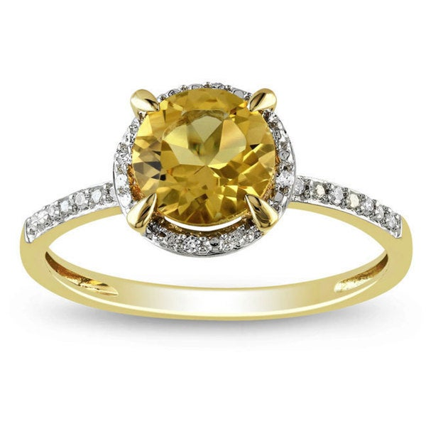 Miadora 10k Yellow Gold Citrine and Diamond Accent Ring (1 1/4ct TGW)