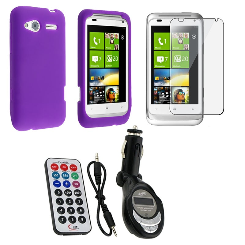 Purple Case/ Screen Protector/ FM Transmitter for HTC Radar 4G