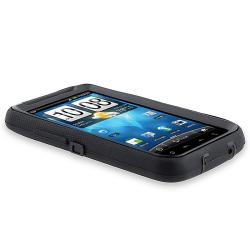 INSTEN Black Hybrid Phone Case Cover for HTC Inspire 4G/ Desire HD