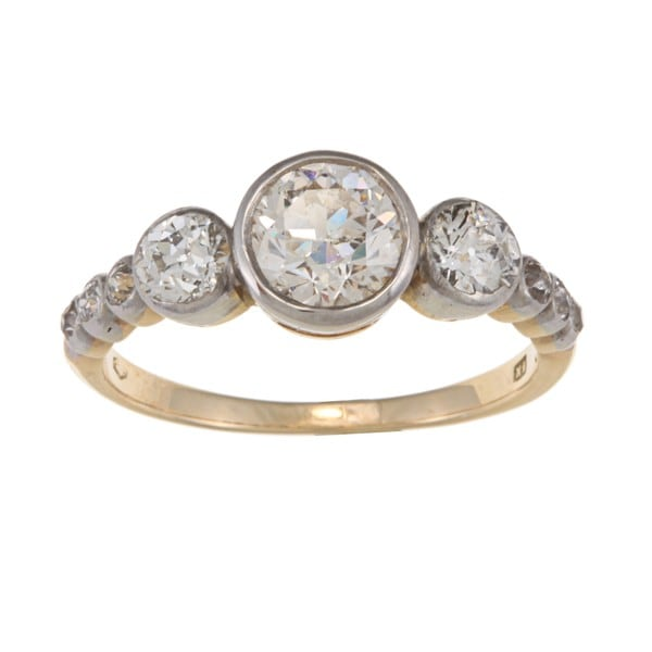 18k Yellow Gold and Platinum 1 1/2ct TDW Diamond Estate Cluster Ring (J-K, I1-I2)(Size 6 3/4)