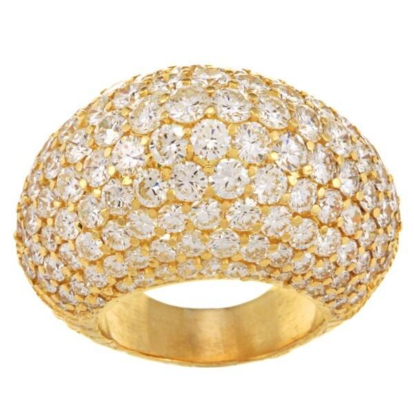 18k Yellow Gold 11ct TDW Diamond Estate Dome Ring (F-G, VS1-VS2)