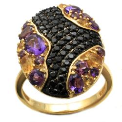 Beverly Hills Charm 14k Gold over Silver Amethyst, Citrine, Spinal and Rhodolite Ring