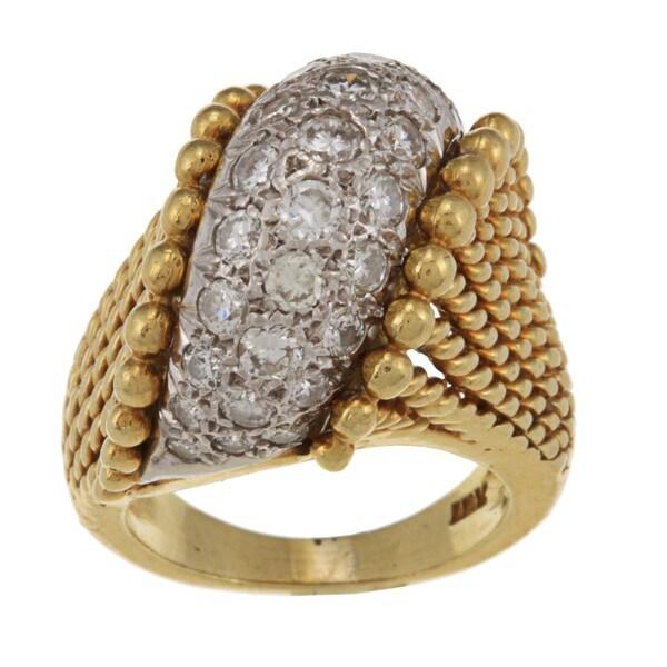 Platinum/ 18k Gold 1 1/3ct TDW Diamond Estate Ring (H-I, SI1-SI2)