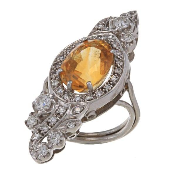 Pre-owned Platinum Citrine and 1ct TDW Diamond Art Deco Estate Cocktail Ring (I-J, SI1-SI2)