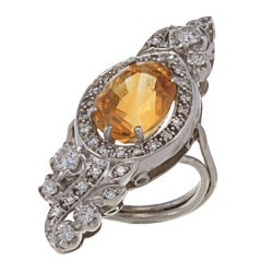 Pre-owned Platinum Citrine and 1ct TDW Diamond Art Deco Estate Cocktail Ring (I-J, SI1-SI2)