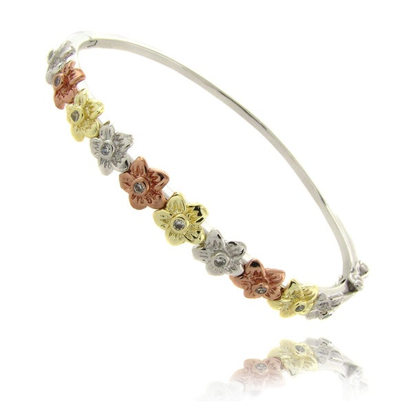Molly and Emma Tri-color Silverplated Children's Flower Bracelet