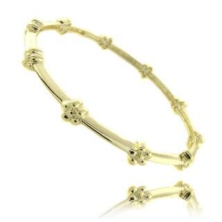Molly and Emma 14k Gold Overlay Children's Flower Bangle Bracelet