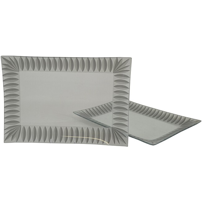 Silver Scallop Rectangular Platters (Set of 2)