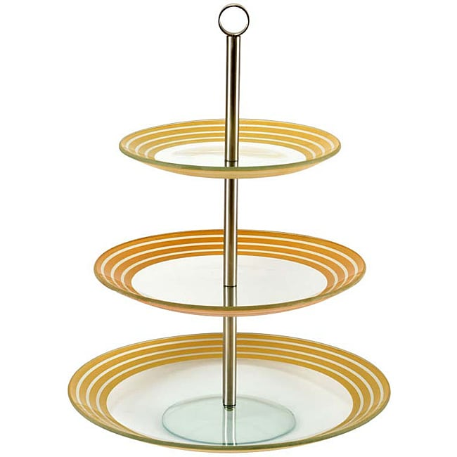 Silver/ Gold Stripe 3-tier Petits Fours Server