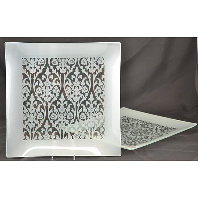 Silver Damask Square Platters (Set of 2)