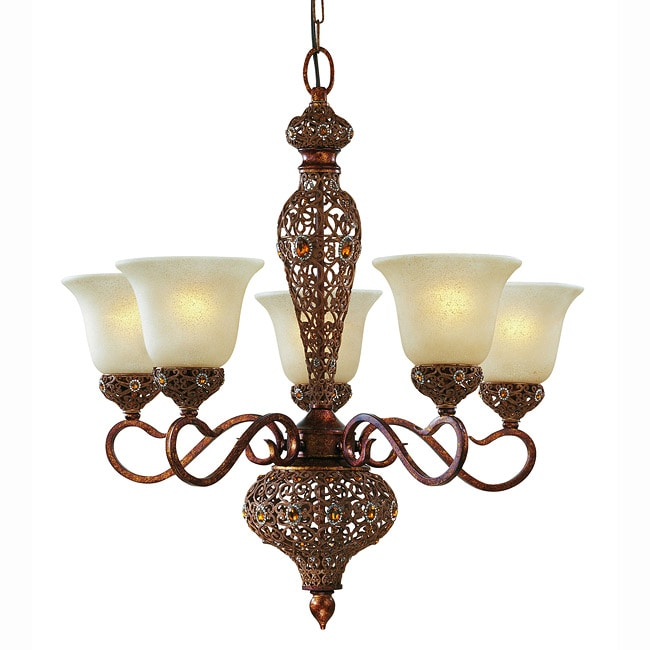 Triarch International Crown Jewel 5-light Antique Gold Chandelier - Thumbnail 0