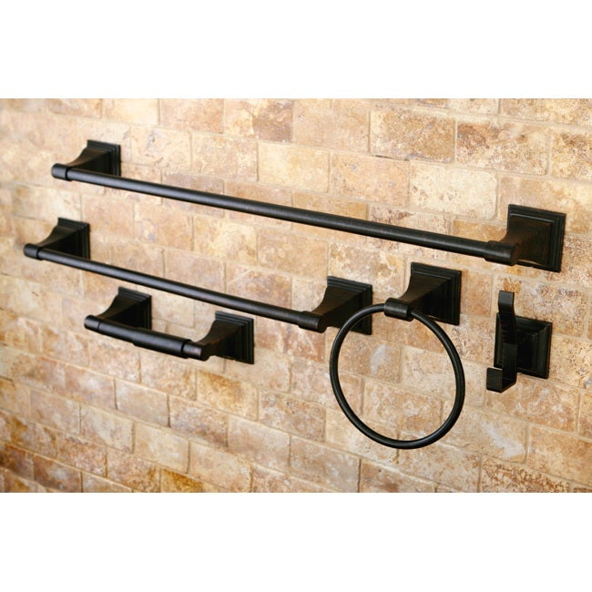 Oil Rubbed Bronze 5 Piece Bathroom Accessory Set Free