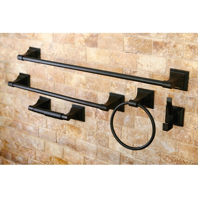 Oil rubbed bronze 5 piece bathroom accessory set free - Rubbed oil bronze bathroom accessories ...