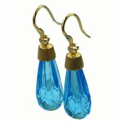 De Buman 18k Yellow Gold Swiss Blue Topaz and Diamond Earrings - Thumbnail 1