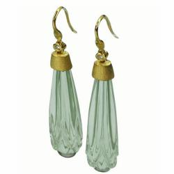 De Buman 18k Yellow Gold Green Amethyst and Diamond Earrings