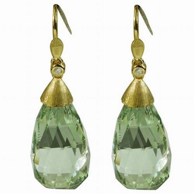 De Buman 18K Yellow Gold Green Quartz and Diamond Earrings