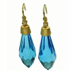 De Buman 18K Yellow Gold Blue Topaz and Diamond Earrings