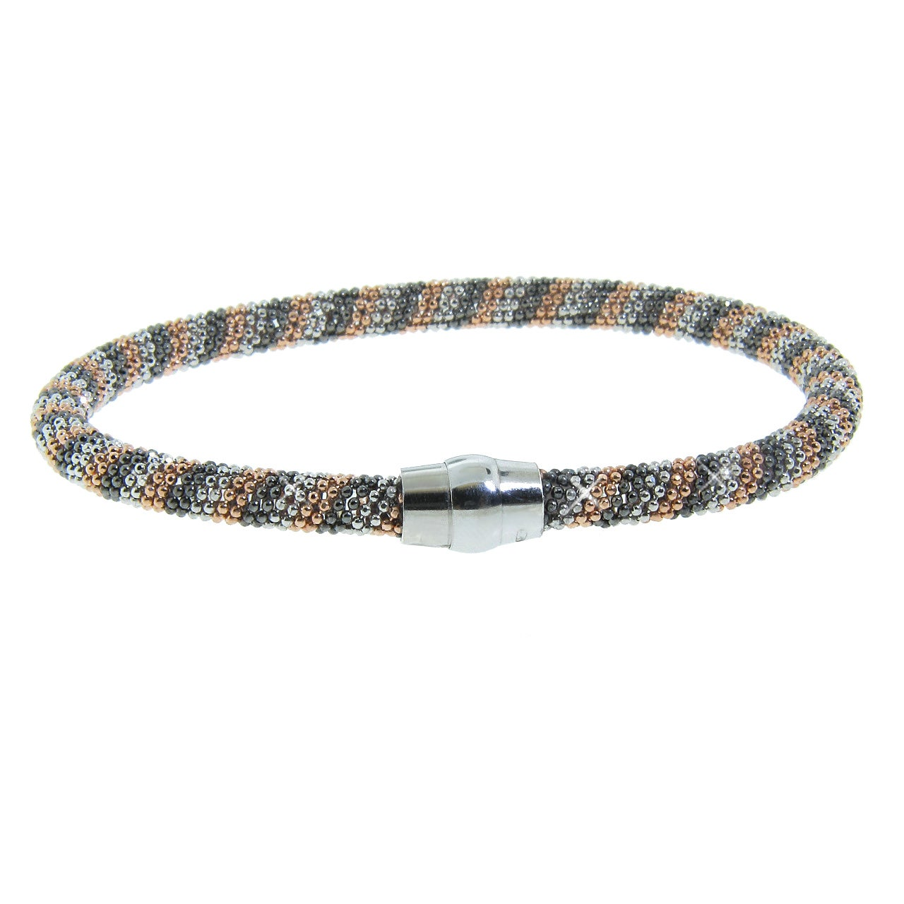 Eternally Haute Tri-color Black Rhodium and Chocolate Gold over Silver Mesh Bracelet