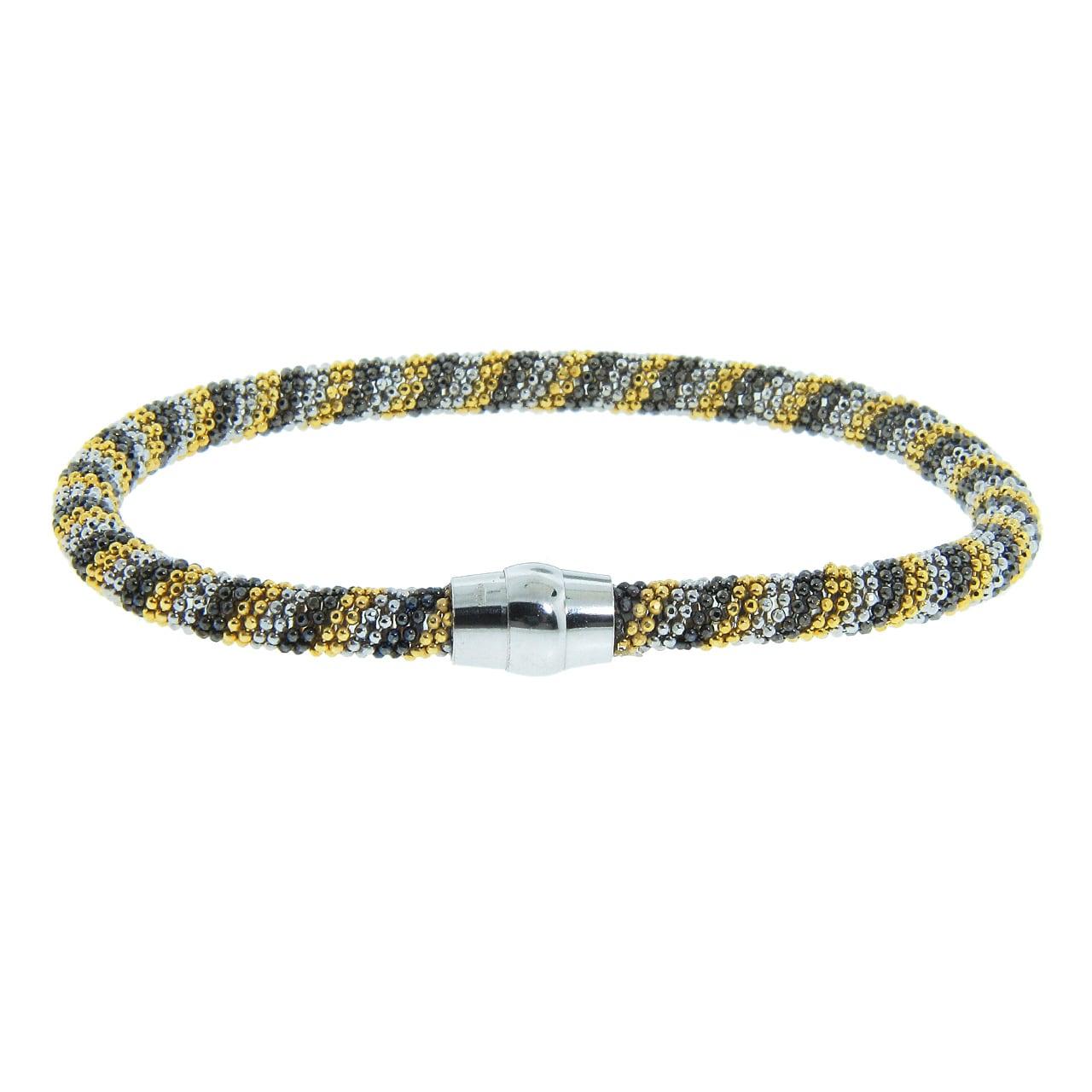 Eternally Haute Tri-color Black Rhodium and Gold over Silver Mesh Bracelet