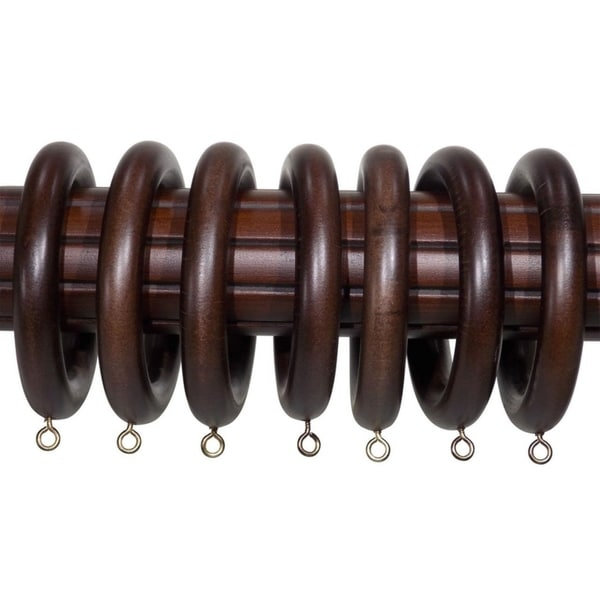 2 Inch English Walnut Wood Curtain Rings Set Of 7