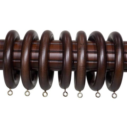 2-inch English Walnut Wood Curtain Rings (Set of 7) - 2