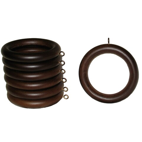 2-inch English Walnut Wood Curtain Rings (Set of 7)
