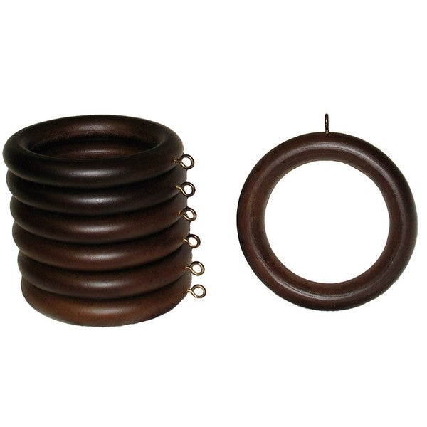 Curtains Ideas 2 inch curtain rings with clips : 2-inch English Walnut Wood Curtain Rings (Set of 7) - Free ...