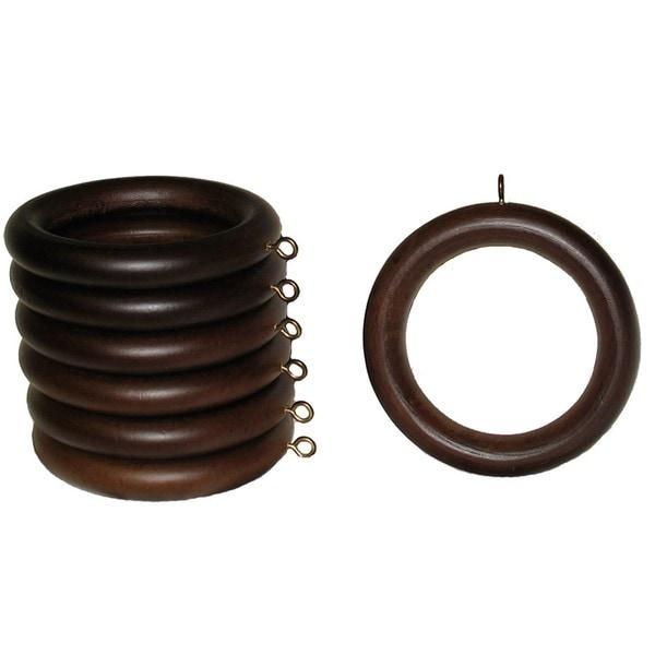 2-inch English Walnut Wood Curtain Rings (Set of 7)