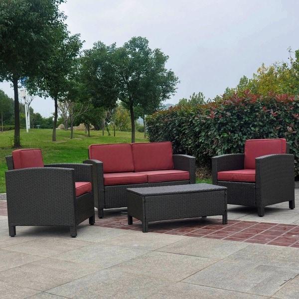 International Caravan Saint Maarten Resin Wicker Upholstered 4-Piece Outdoor Set