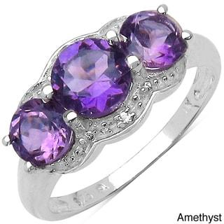 Malaika Sterling Silver Gemstone and White Topaz Three-stone Ring