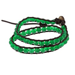 La Preciosa Green Agate Beads Brown Leather Wrap Bracelet