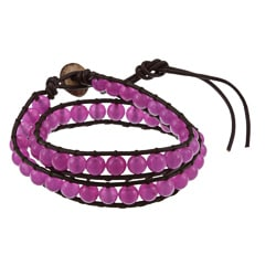 La Preciosa Purple Agate Bead Leather Wrap Bracelet