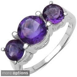 Malaika Sterling Silver Round-cut Gemstone 3-stone Ring