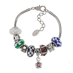 La Preciosa Glass Bead and Flower Charm Bracelet
