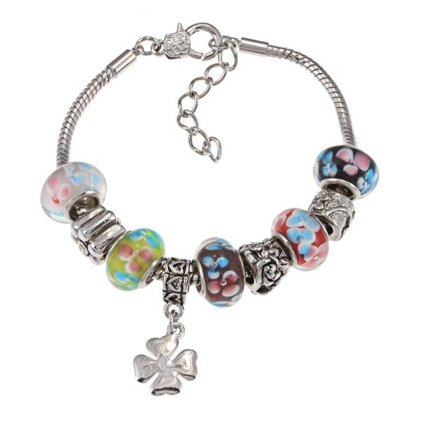 La Preciosa Silvertone Multi-Colored Flower Bead and Clover Charm Bracelet
