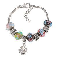 La Preciosa Silvertone Multi-Colored Flower Bead and Clover Charm Bracelet