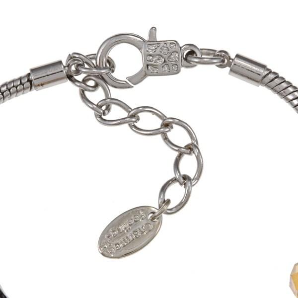 La Preciosa Silverplated Yellow-beaded Seven-inch Charm  Bracelet