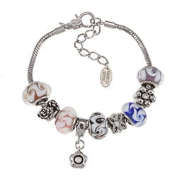 La Preciosa Silvertone Multi-Colored Bead and Charm Bracelet