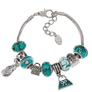 La Preciosa Silvertone Green Bead Enamel Charm  Bracelet