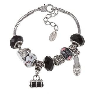 La Preciosa High-polish Silvertone Black Bead Charm Bracelet