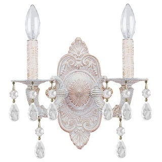 Crystorama Sutton Collection 2-light Antique White Wall Sconce