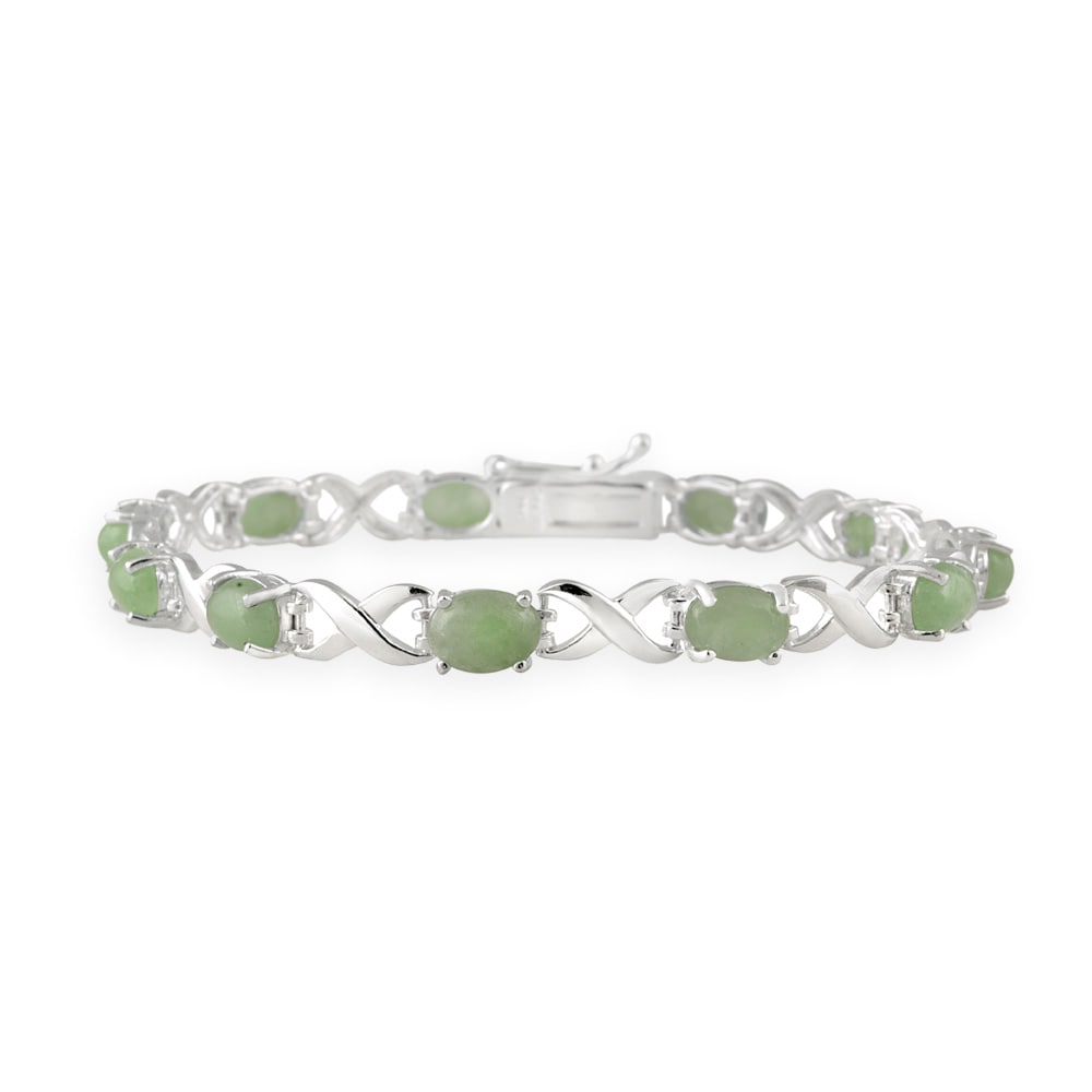 Glitzy Rocks Sterling Silver X and O Green Jade Bracelet