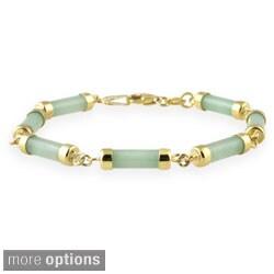 Glitzy Rocks Sterling Silver Green Jade Link Bracelet