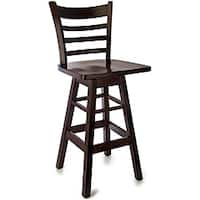 Walnut Wood Ladderback Swivel Barstool