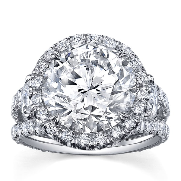 Platinum 7 1/2ct TDW Certified Round Cut Diamond Ring (F-G, SI2)