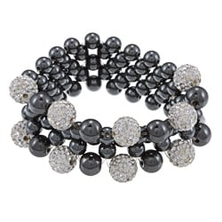 La Preciosa 6 and 8 mm Hematite Beads w/ 10mm White Crystal Beads Stretch Bracelet