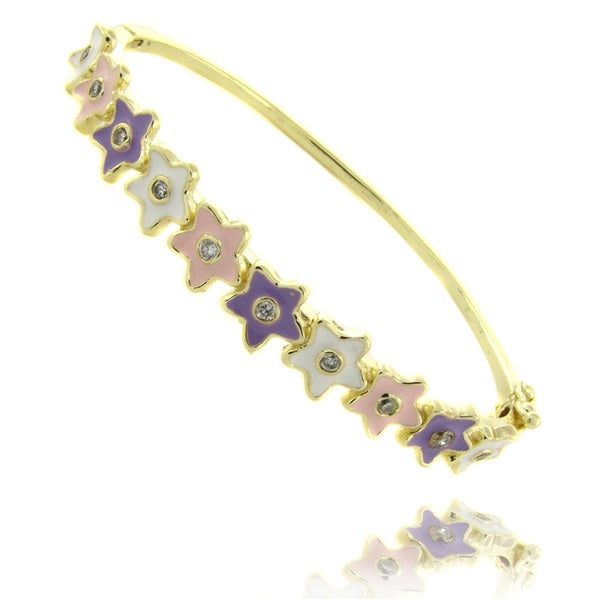 Molly and Emma 14k Yellow Gold Overlay Children's Enamel Flower Design Bangle Bracelet