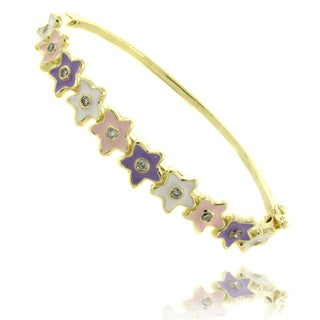 Molly and Emma 14k Yellow Gold Overlay Children's Enamel Flower Design Bangle Bracelet