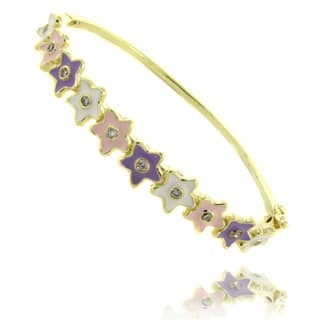 Molly and Emma 14k Yellow Gold Overlay Children's Enamel Flower Design Bangle Bracelet|https://ak1.ostkcdn.com/images/products/6403257/P14013444.jpg?impolicy=medium